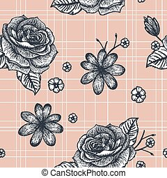 retro seamless hand drawn rose pattern over pink background
