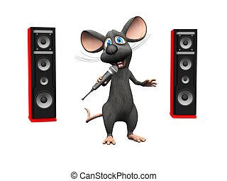 microfone, grande, Oradores, rato, cantando, caricatura