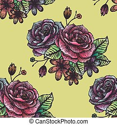 retro seamless hand drawn rose pattern over yellow...