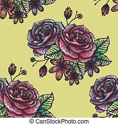 retro seamless hand drawn rose pattern over yellow...