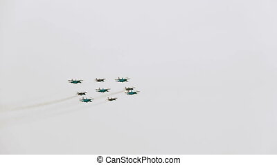 Aerobatic team Swifts and Russian Knights in the form of...