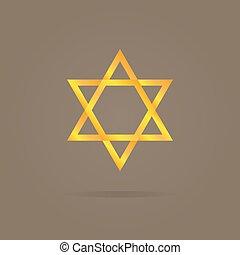 Vector illustration of golden Magen David - Vector logo...