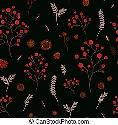 adorable floral seamless pattern over black background