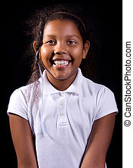 Happy Dark Skinned Girl - Portrait of happy mixed race...