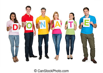Group Of People Holding Letter Donate Over White Background