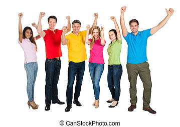 Group Of Multiethnic Diverse People Celebrating - A Smiling...