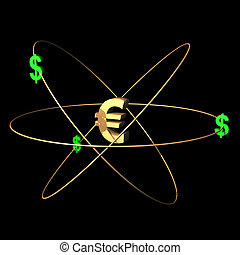 Goldeuro - European currency symbol with dollars.