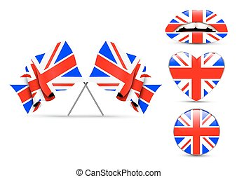 Set of England design over white background