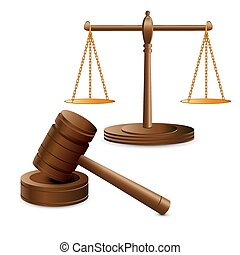 Scales justice and hammer