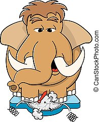 overweight mammoth standing on scales - vector illustration...