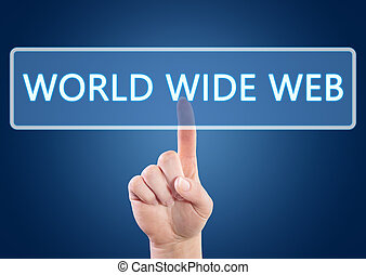 World Wide Web - Hand pressing World Wide Web button on...