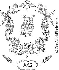 Cute cartoon vector owls in frame of leaves and flowers -...