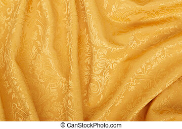 Gold damask floral wavy tapestry - Gold damask floral...