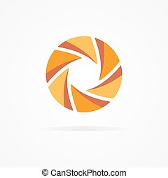 Unusual orange logo in the form of a spiral - Vector logo...