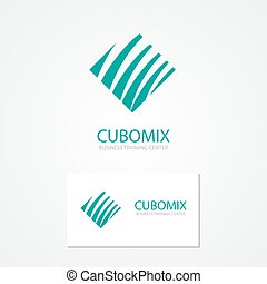 Logo with a combination of cube and waves - Vector logo...