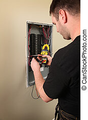 Electrician - An Electrician working on a new construction...