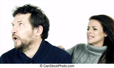 Man tired of listening wife - Unhappy man feeling frustrated...