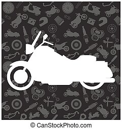 Motorcycle, background pattern and icon