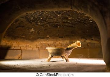 antiguo, ladrillo, horno,