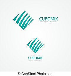 Logo combination of a cube and waves - Vector logo design...