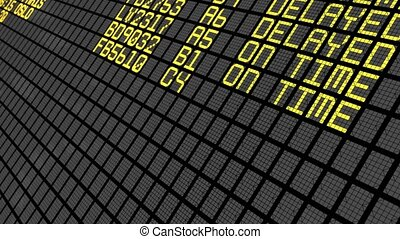 4K - International Airport Board C - Close-Up of an...