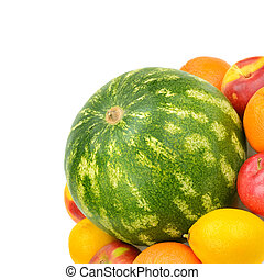 watermelon and fruit set isolated on a white background