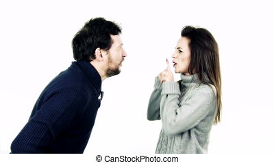 Cute couple yelling and fighting slow motion isolated