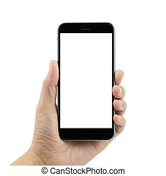Hand holding smart phone with blank screen on white...
