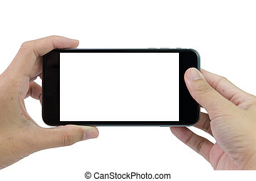 Hands holding smart phone - Hand holding smart phone with...