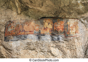 Old cave murals, Bulgaria - Old orthodox cave murals in a...