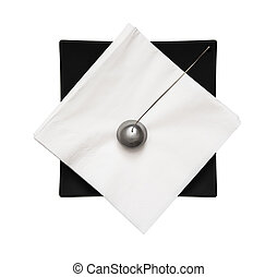 Black napkin holder with paperweight - view from above -...