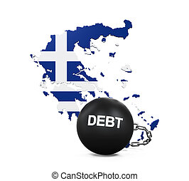 Greece Economic Crisis Illustration isolated on white...