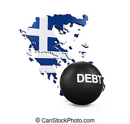 Greece Economic Crisis Illustration isolated on white...