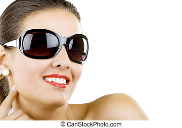beautiful woman wearing sunglasses - Fashion portrait of...
