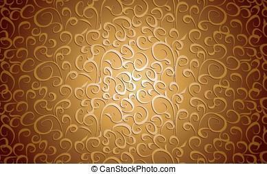 Vintage floral background in gold,