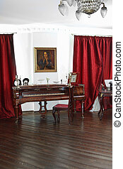 Room with antique piano and furniture