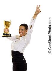 negócio, mulher, troféu,...