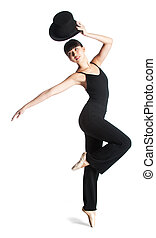 Ballerina with Top Hat - A young attractive ballerina poses...