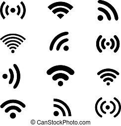 Wireless technology, black web icons set. - Wireless...