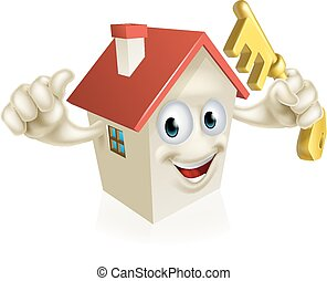 Cartoon House Holding Key - An illustration of a cartoon...