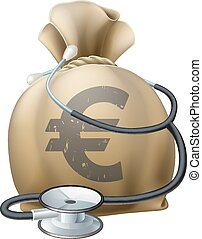 Euro Money Sack and Stethoscope - Money sack with a...