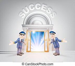Door to Success and Doormen - Success concept of a doormen...