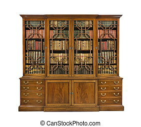 bookcase old antique English with books - old antique...