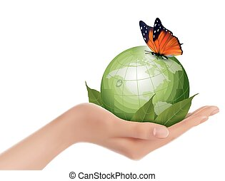 Green world with leaf and butterfly in woman hand. Vector illustration.