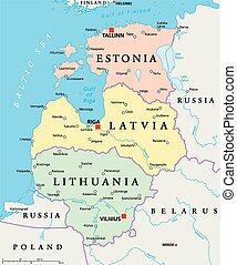 Baltic States Political Map Estonia, Latvia and Lithuania...