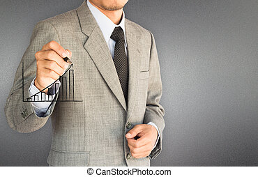 strategy business man drawing graph to success and grey frosted