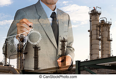 double exposure strategy business man drawing  gear graph and fa