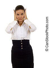Hear No Evil pose - Isolated studio shot of a businesswoman...