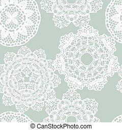 Lace white seamless mesh pattern Vector illustration