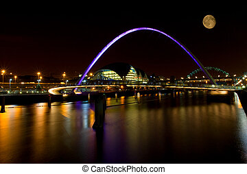 Millennium Moon - Millennium Bridge spanning the river Tyne...